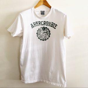 Abercrombie White Distressed Logo Tee